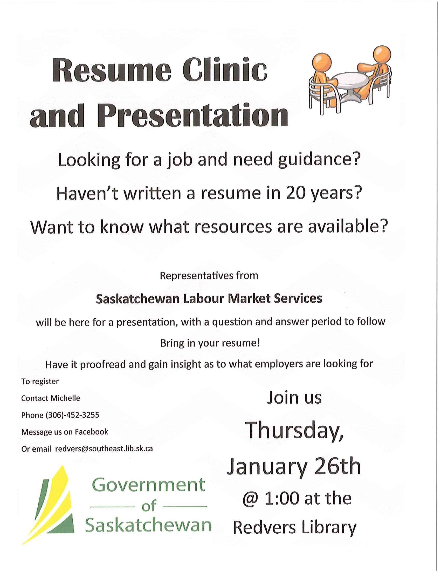 need help writing or editing a resume come down to the library and get some help from saskatchewan labour market services please see poster for details