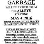 Summer Garbage Pickup Begins May 4th!