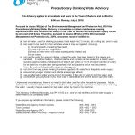 Drinking Water Advisory for July 9, 2018